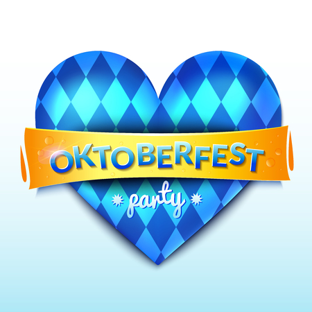 Button heart with blue and white rhombus pattern, german beer fest decoration, Oktoberfest party concept design, realistic vector illustration
