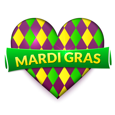 Colorful heart, Mardi Gras sign