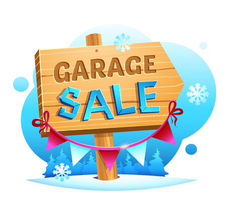 Snow garage Sale, wooden pointer with a hand written inscription and decoration on the background of a winter landscape vector illustration