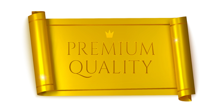 Premium quality horizontal banners, realistic golden scroll. Vector illustration Illustration