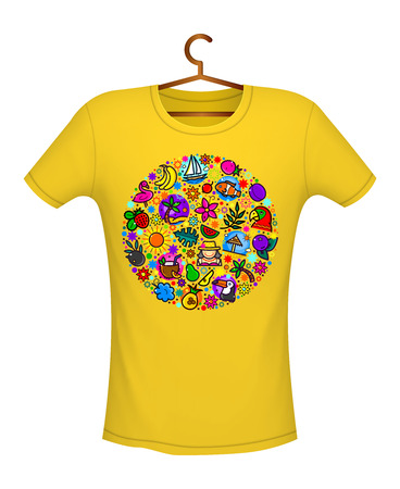 Tropical summer print on t-shirt yellow color, vector illustration  イラスト・ベクター素材