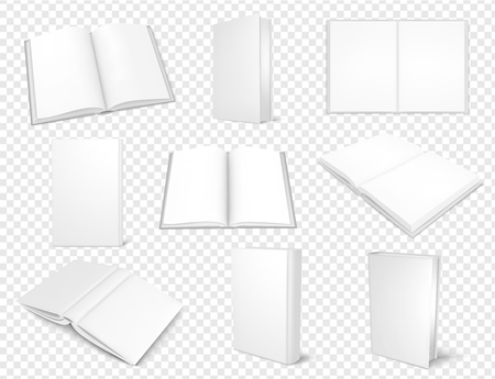 Set of mockup books close and open, template for design. Vector illustartion