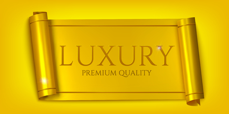 Luxury horizontal banners, realistic golden scroll isolated on golden background. Vector illustration  イラスト・ベクター素材