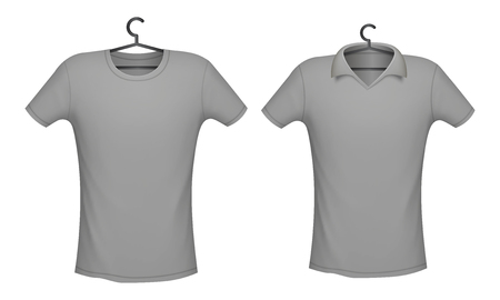 T-shirt and Polo grey color mockup for design print, vector illustration  イラスト・ベクター素材