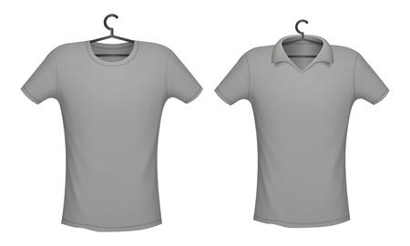 T-Shirt und Polo graues Farbmodell für Designdruck, Vektorillustration Vektorgrafik