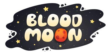 Blood Moon cartoon inscription on night sky