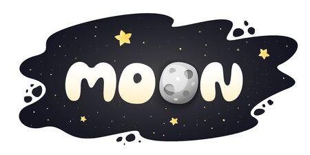 Moon cartoon inscription on night sky with stars. Ilustrace