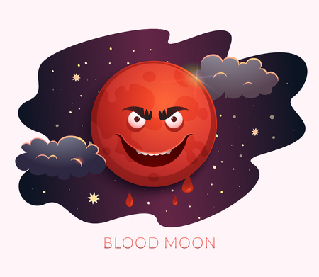 Blood Moon concept design, Lunar Eclipse July 27 2018, astronomical phenomenon. Vector illustration