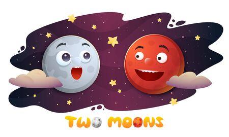 Cartoon characteres Mars and Moon