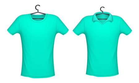 T-shirt and Polo mint color mockup for design print, vector illustration  イラスト・ベクター素材