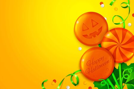 Beautiful Halloween background with cartoon holidays candies. Vector illustration Çizim
