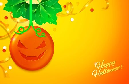 Beautiful Halloween background. Candy with holiday face pumpkin concept. Vector illustration