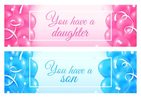 Gender reveal, girl or boy patry posters