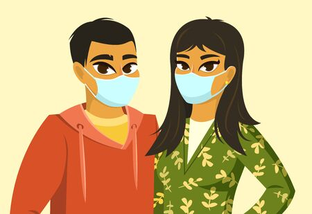 Asian man and woman wearing surgical mask