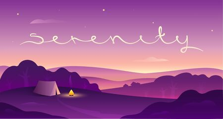 Landscape at sunset with Serenity lettering, vector illustartion 写真素材 - 148651697
