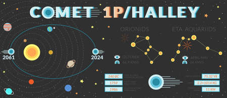 Infographic of short-period comet Halley 1P Vettoriali