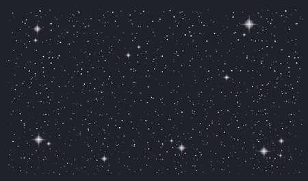 Stary night sky horizontal vector background