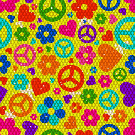 Hippie background. Vector illustration with many object.