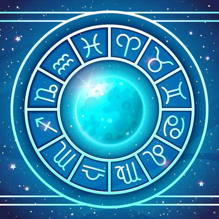 Zodiac Wheel with zodiac signs set with Blue Moon