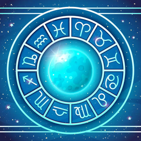 Zodiac Wheel with zodiac signs set with Blue Moon