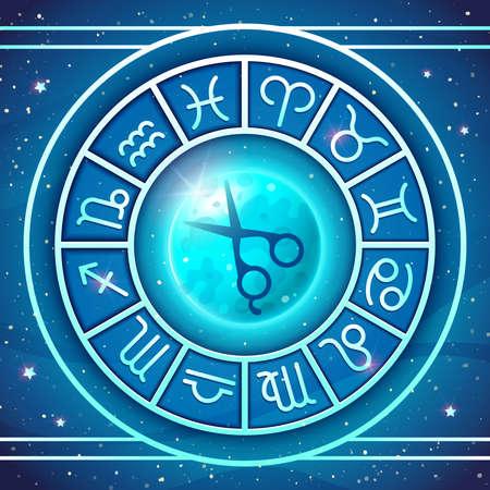 Zodiac wheel with zodiac signs set Illustration