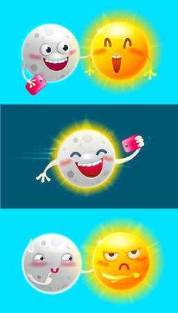Cartoon characters Moon and Sun