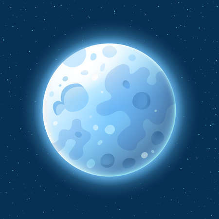 Blue Moon in realistic style on starry background