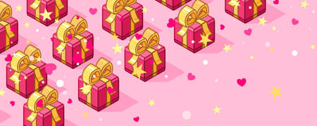 Isometric pink color gift boxes