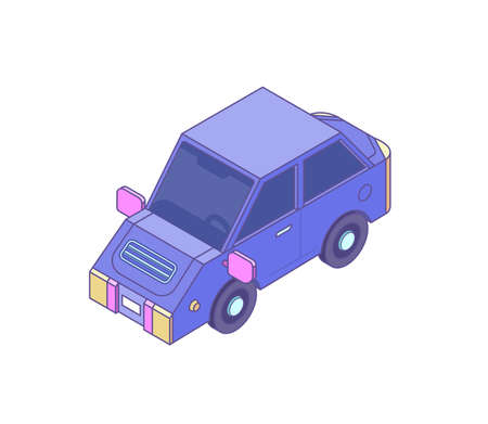 Purple car in isometric style, vector Vettoriali