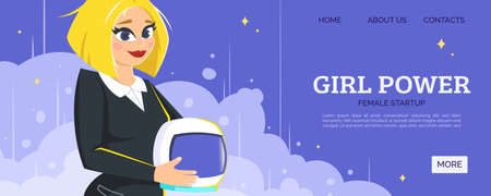 Girl power, new business web banner or page site Vettoriali