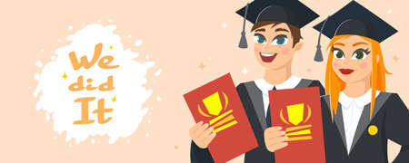Graduation Congratulations vector illustration. Horizontal banner with smiling guy and girl dressed in mantle