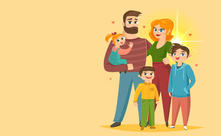 Happy family parents with their children, vector illustration Vettoriali
