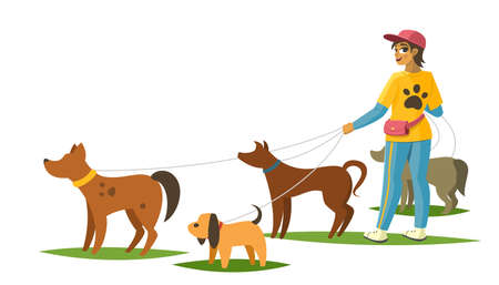 Dog walker with dogs banner, vector illustration Vettoriali