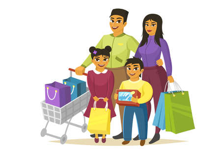 Asian family at shopping, happy parents with children, vector illustration