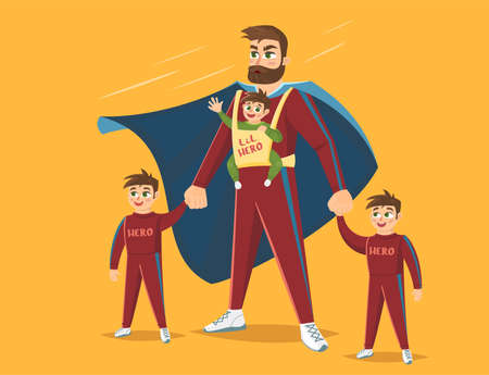 Super Dad, Dad with his three children, vector illustration