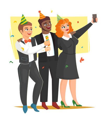 Office corporate holiday party, three happy colleagues, vector illustration Vettoriali