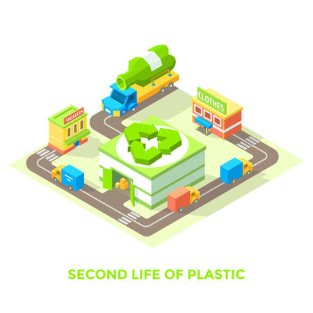 Second life of plastic. Plastic recycling, vector illustration