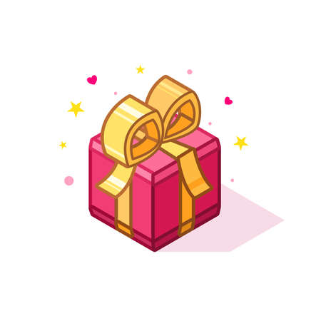 Isometric pink color gift box. Vector illustration