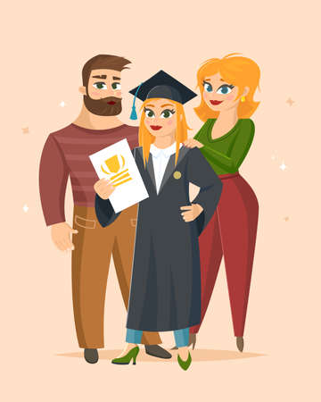 Graduation Congratulations vector illustration with happy family proud of their daughter graduate.