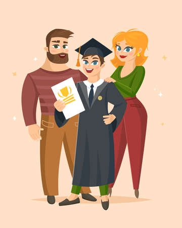 Graduation Congratulations vector illustration with happy family proud of their son graduate. Vettoriali