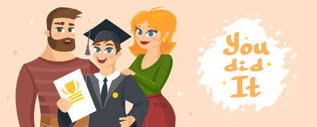 Graduation Congratulations vector illustration with words You did it. Vettoriali