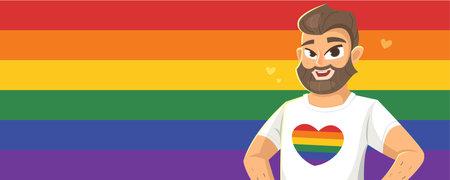 Horizontal banner with man on LGBT flag Illusztráció