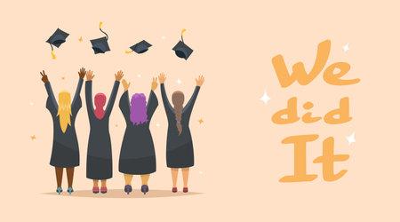 Graduation Congratulations. Four happy graduate girls, vector illustration Illusztráció