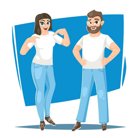 Man and woman in blank white t-shirt. Vector illustration