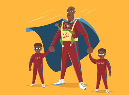 Super Dad. Dad with his three children plays in superheroes, vector illustration
