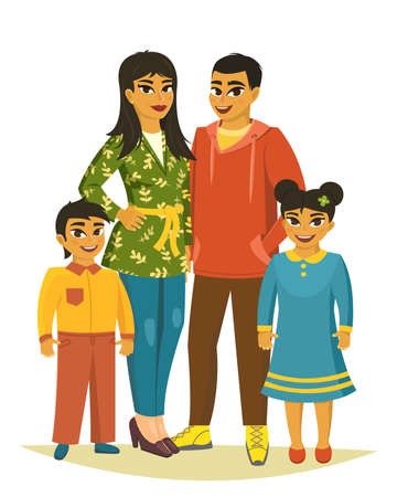 Happy family, father, mother, sons and daugther. vector illustration Illusztráció