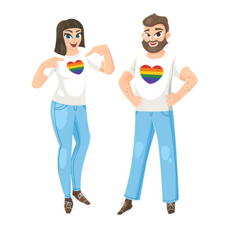 Woman and Man wearing t-shirt with hearts LGBT flag colors. Vector illustration Illusztráció