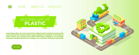 Second life of plastic concept, vector illustration