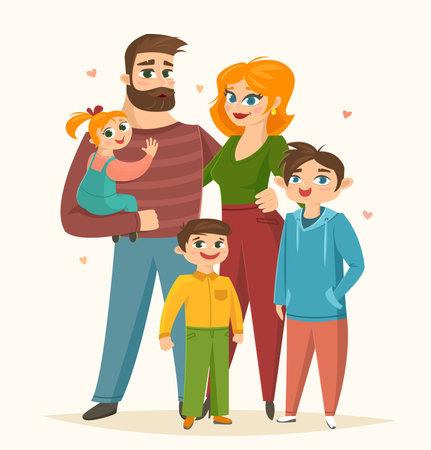 Happy family, full-length portrait of parents