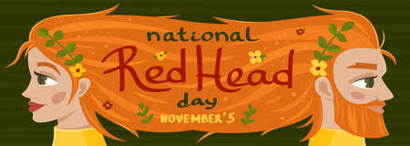 National Red Head day banner, vector illustration
